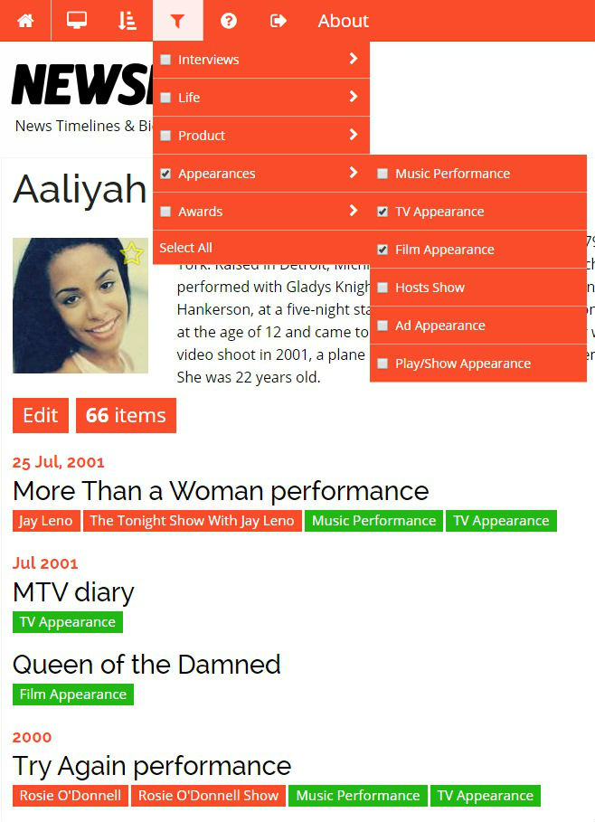Aaliyah Appearances  Filter